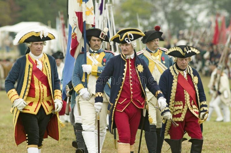 Compte De Grasse, Major General en traje casual, general Rochambeau en el 225o aniversario de la victoria en Yorktown, un reenac fotografía de archivo libre de regalías