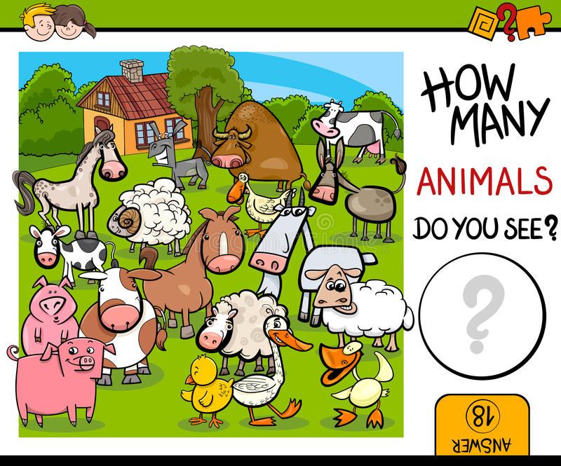 Compte de l'activité d'animaux de ferme illustration libre de droits