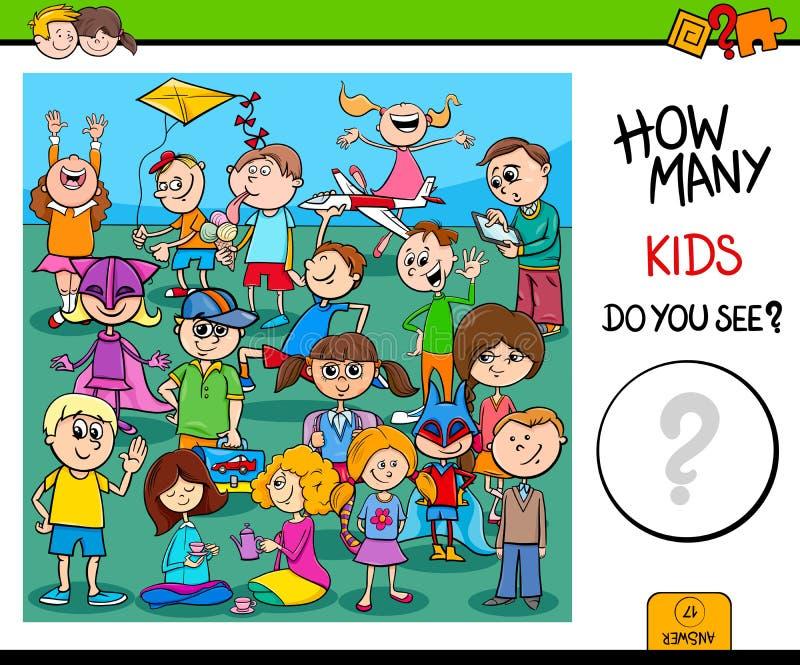 Compte de la tâche éducative de caractères d'enfants illustration libre de droits