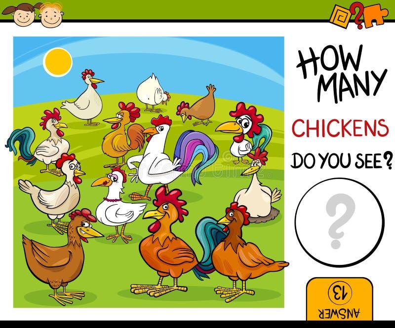 Compte de la tâche avec la bande dessinée de poulets illustration stock