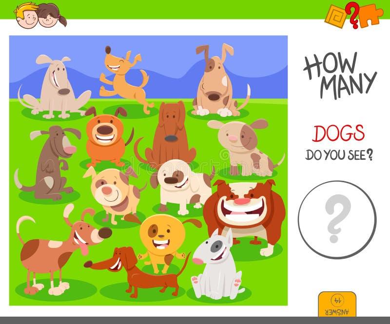Compte de la tâche de fiche de travail d'activité de chiens illustration libre de droits