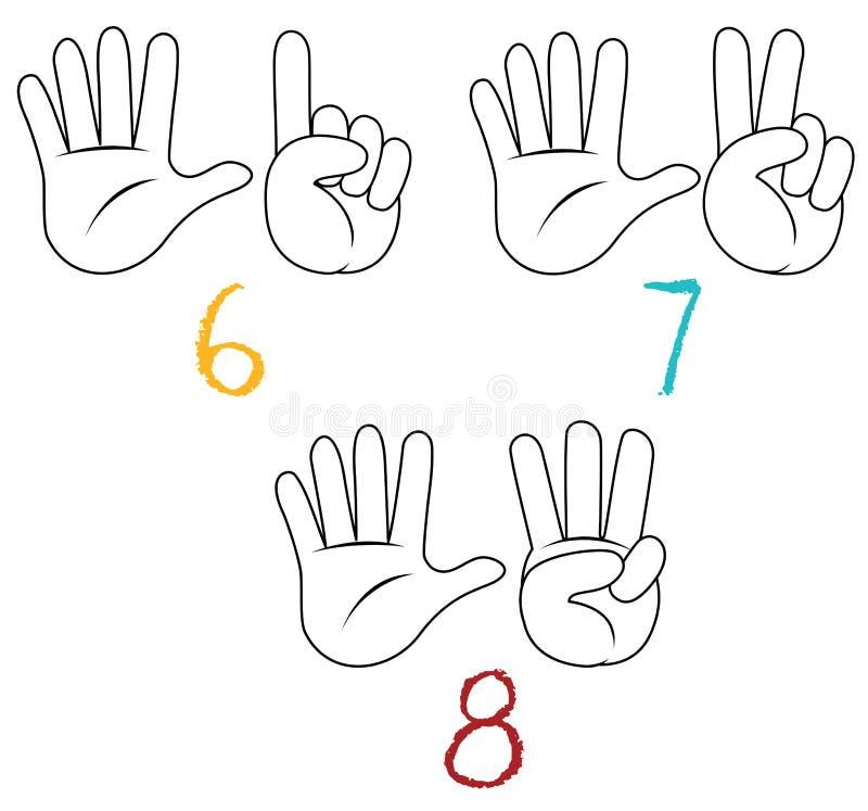 Compte de nombre de geste de main illustration libre de droits