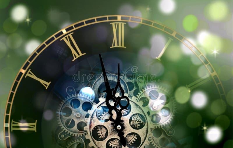 Compte de visage d'horloge de nouvelle année vers le bas illustration stock