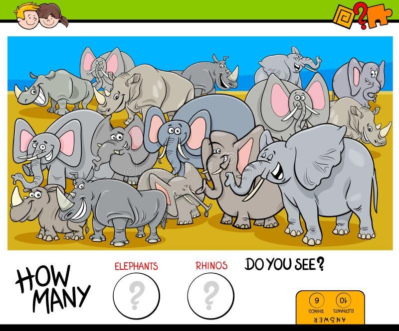 Compte des éléphants et du jeu de rhinocéros pour des enfants illustration stock