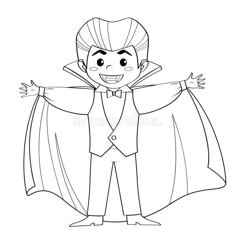 Compte Dracula Vampire Garçon dans le costume de Veille de la toussaint Vecteur noir et blanc illustration de vecteur