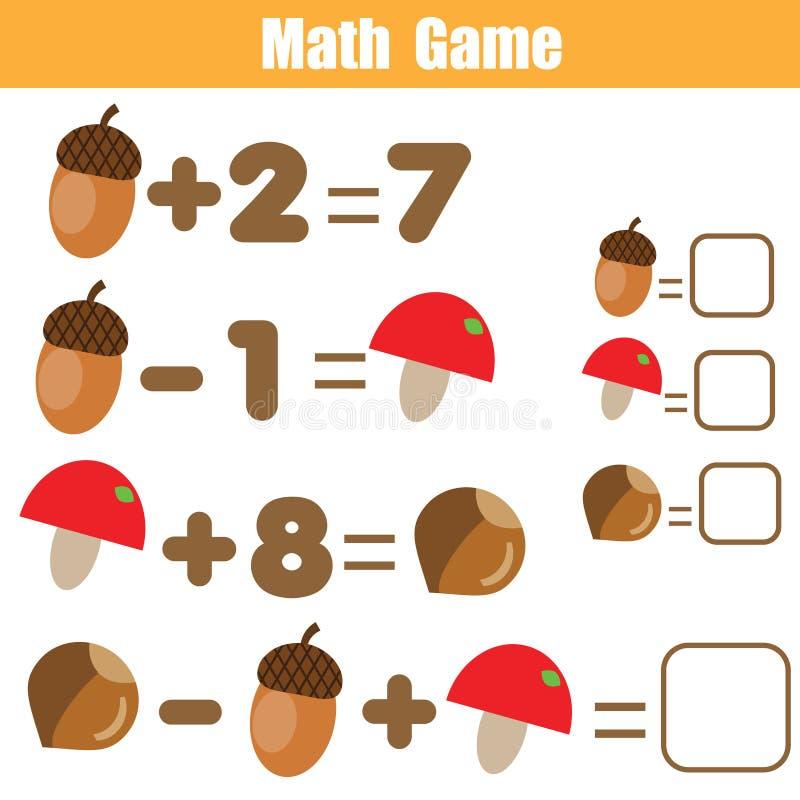 Compte du jeu éducatif d'enfants Activité de mathématiques pour des enfants et des enfants en bas âge Résolvez l'équation Maths d illustration libre de droits