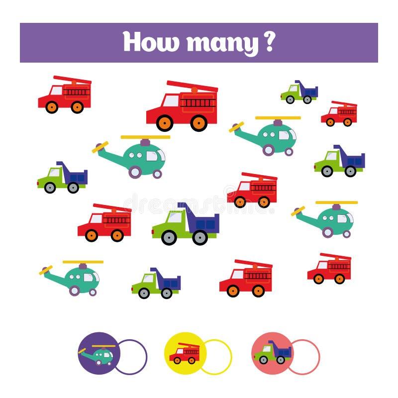 Compte du jeu éducatif d'enfants, feuille d'activité d'enfants Combien d'objets chargent Étude des mathématiques, nombres, thème  illustration stock