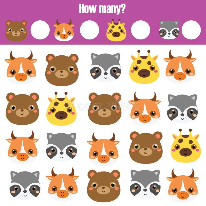 Compte du jeu éducatif d'enfants, fiche de travail d'activité d'enfants Combien d'objets apprentissage des mathématiques illustration de vecteur