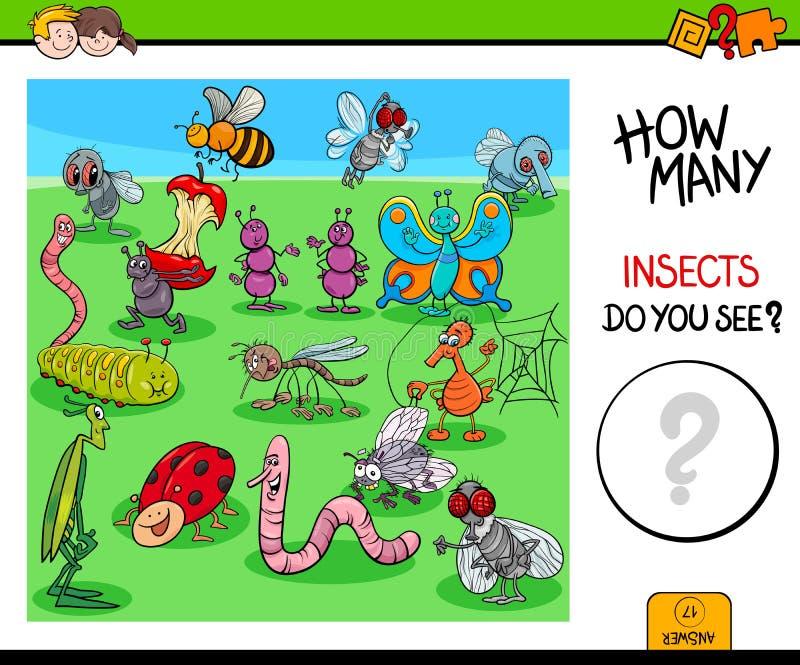 Compte du jeu éducatif d'insectes et d'insectes illustration stock