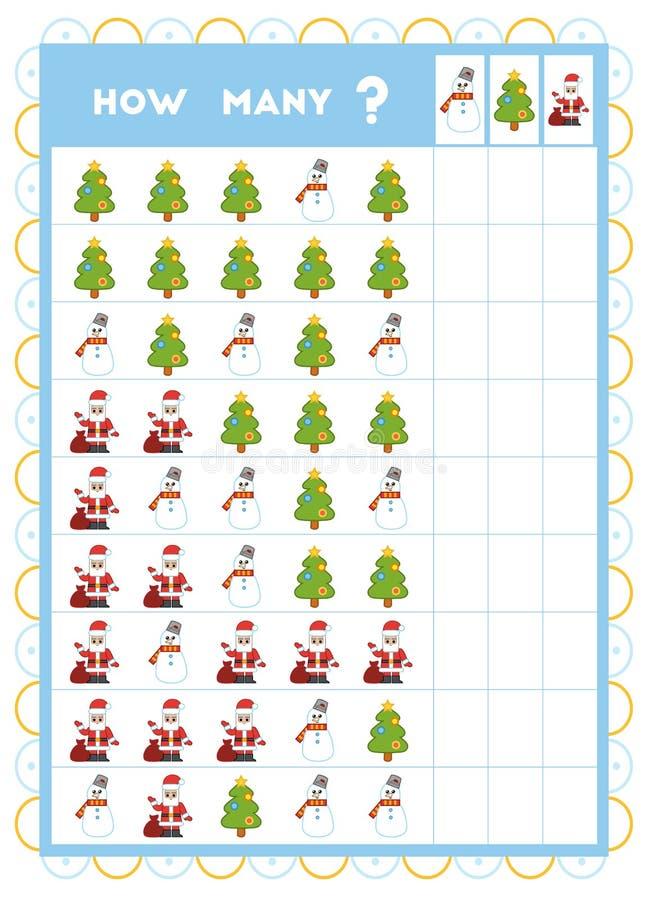 Compte du jeu, jeu éducatif pour des enfants Comptez combien d'articles de Noël dans chaque rangée illustration de vecteur