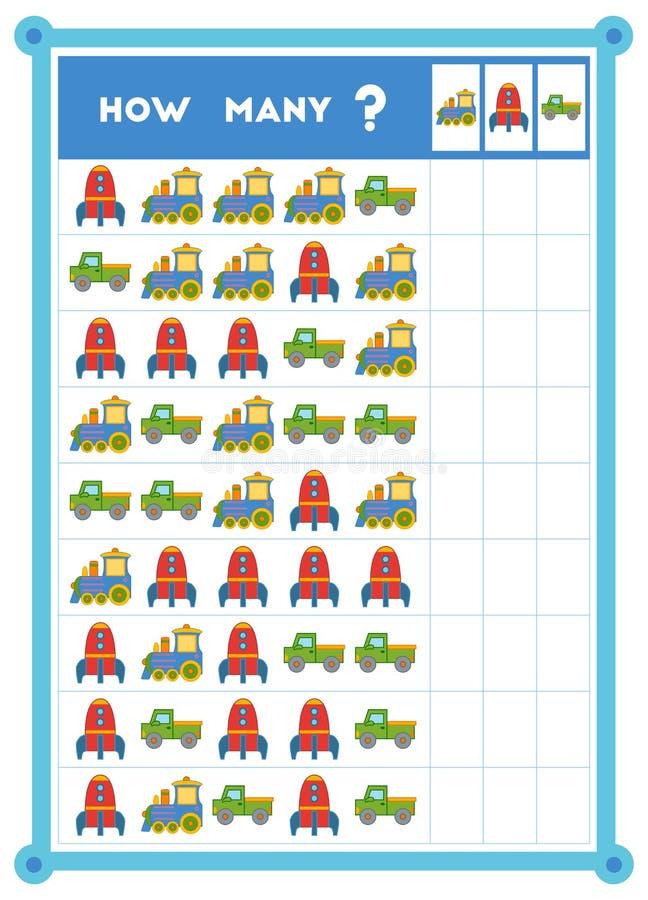 Compte du jeu, jeu éducatif pour des enfants Comptez combien de collectes, de vaisseaux spatiaux et de trains dans chaque rangée illustration stock