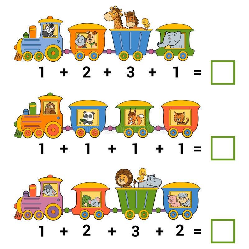 Compte du jeu éducatif pour des enfants Fiches de travail d'addition illustration libre de droits