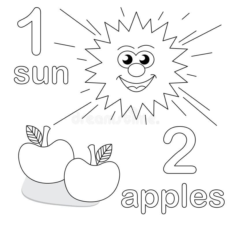 Compte du jeu avec le numéro 1 et 2 illustration libre de droits