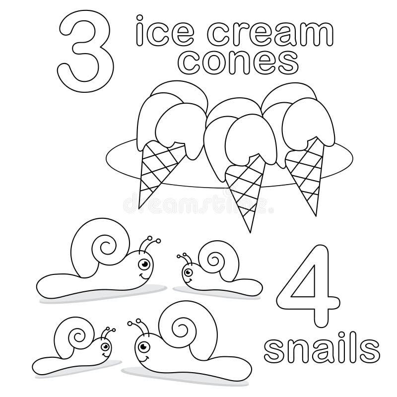 Compte du jeu avec le numéro 3 et 4 illustration de vecteur