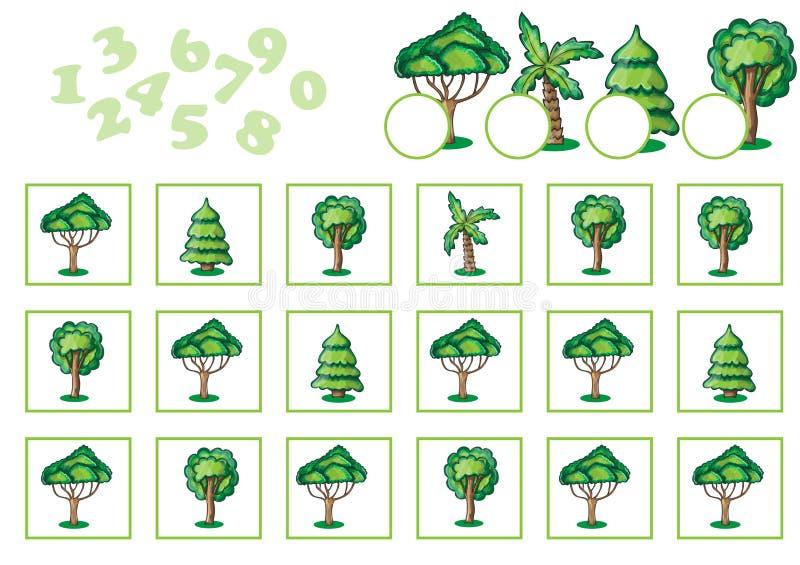 Compte du jeu pour des enfants avec des arbres illustration libre de droits