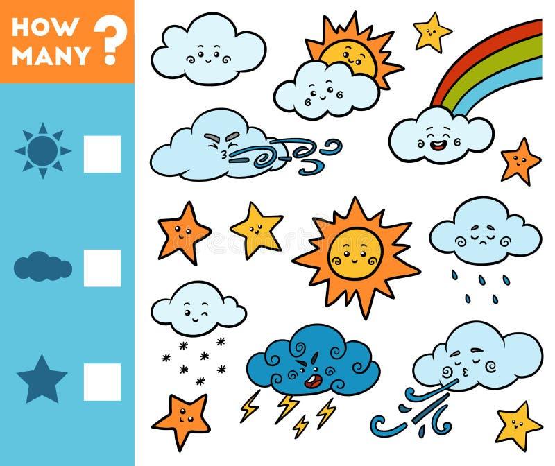 Compte du jeu pour des enfants ?ducatif un jeu math?matique Comptez combien d'étoiles, nuages, les soleils et écrire le résultat illustration stock