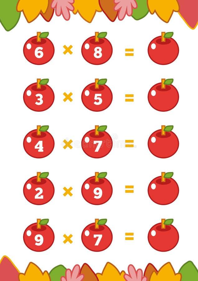 Compte du jeu pour des enfants Fiches de travail de multiplication illustration stock