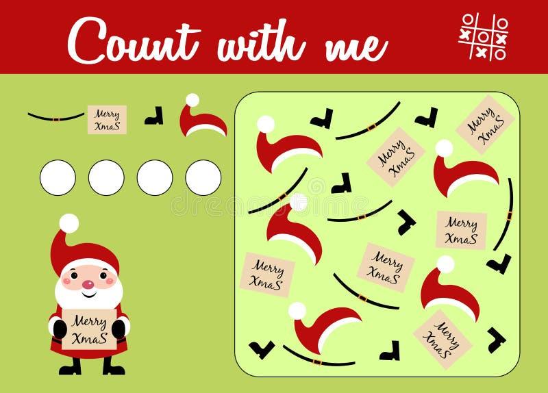Compte du jeu pour les enfants préscolaires Éducatif un jeu mathématique Thème de Noël avec Santa Claus illustration libre de droits