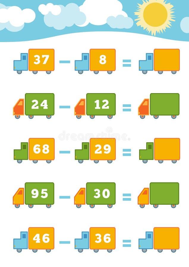 Compte du jeu pour les enfants préscolaires Fiches de travail de soustraction illustration stock