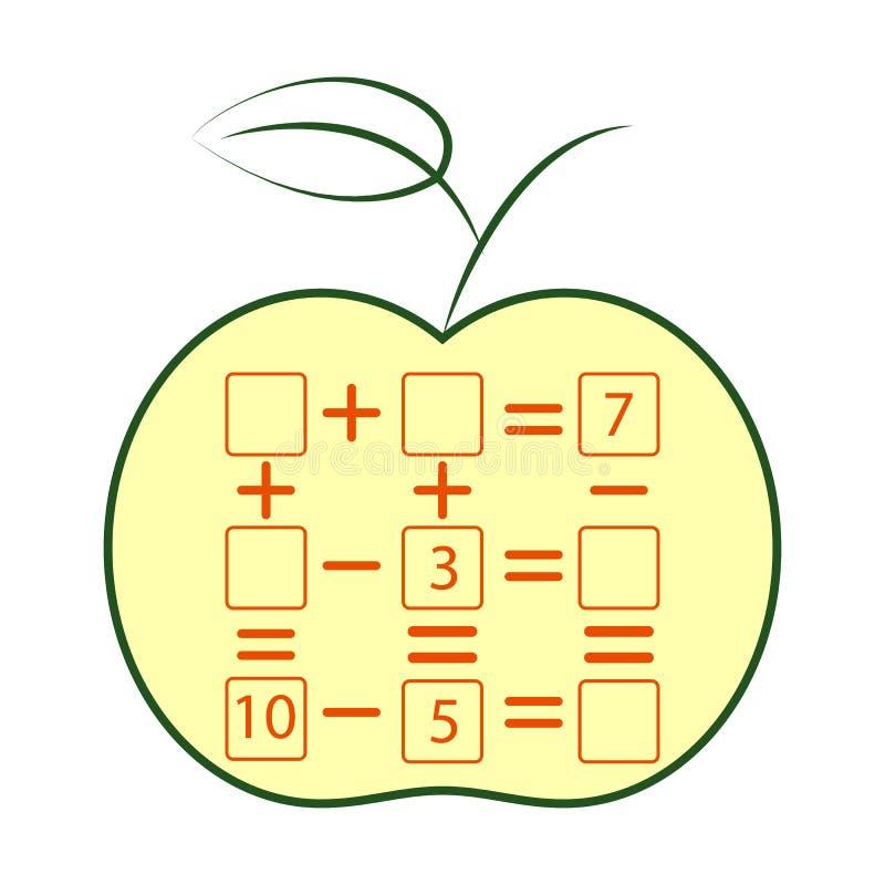 Compte du jeu pour les enfants préscolaires Tâche de mathématiques Combien d'objets Étude des mathématiques, nombres illustration de vecteur