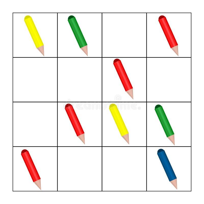 Compte du jeu pour les enfants préscolaires Tâche de mathématiques Combien d'objets Étude des mathématiques, nombres, logique illustration libre de droits