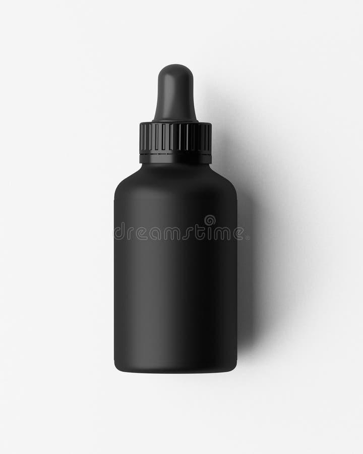 Compte-gouttes d'oeil noir de conception moderne de bouteille D'isolement sur le fond blanc illustration 3D illustration de vecteur