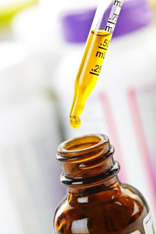 Compte-gouttes et bouteille de médecine photographie stock