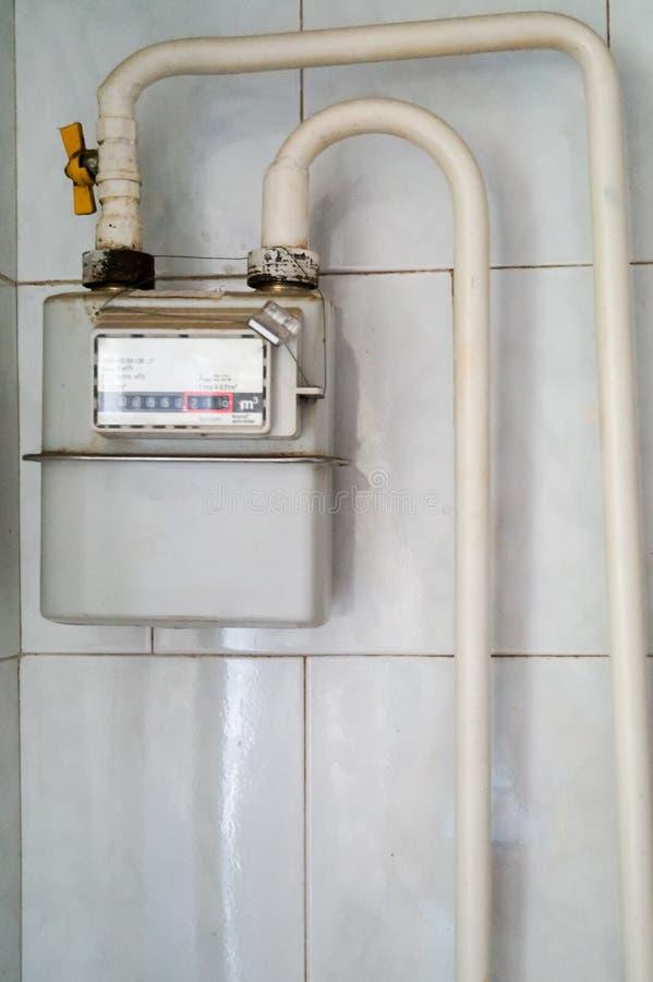 Compteur à gaz domestique images stock