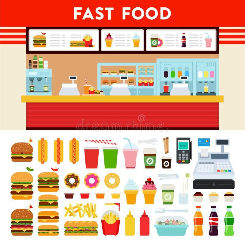Compteur d'aliments de préparation rapide avec le signe de menu illustration de vecteur