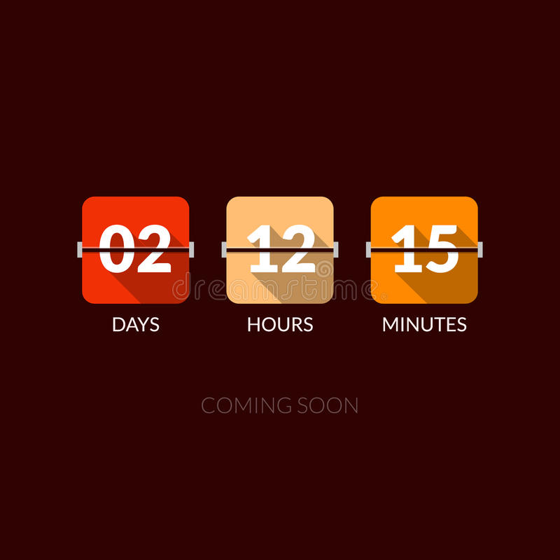 Compteur d'horloge de vecteur de minuterie de Flip Countdown Style plat illustration de vecteur