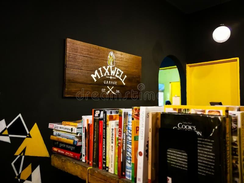 Compteur de caissier au restaurant de garage de Mixwell, Sungai Tangkas, Kajang photos libres de droits