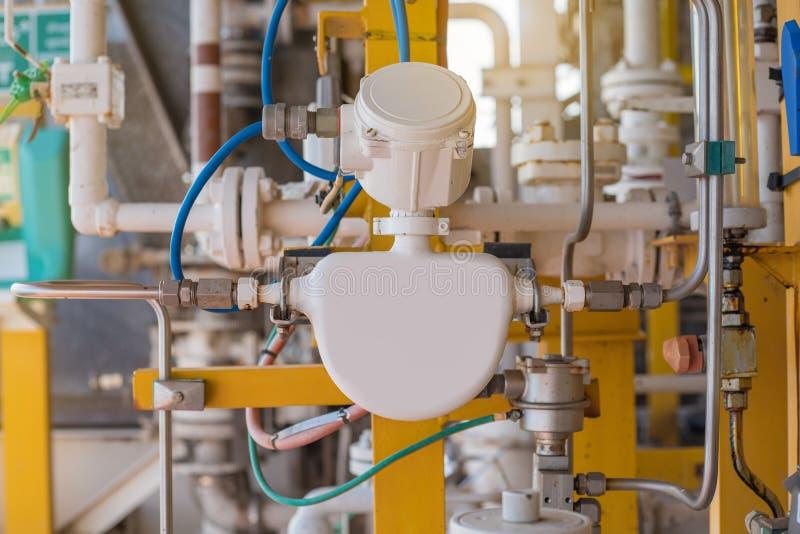 Compteur de débit de Coriolis ou mètre d'écoulement de la masse pour la quantité de mesure de débit chimique qui injecte à la voi photographie stock