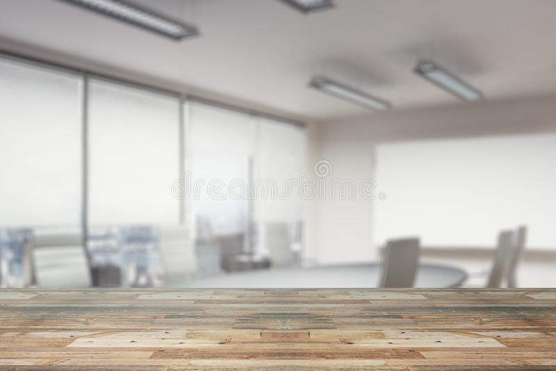 Compteur en bois sur le papier peint de bureau illustration stock