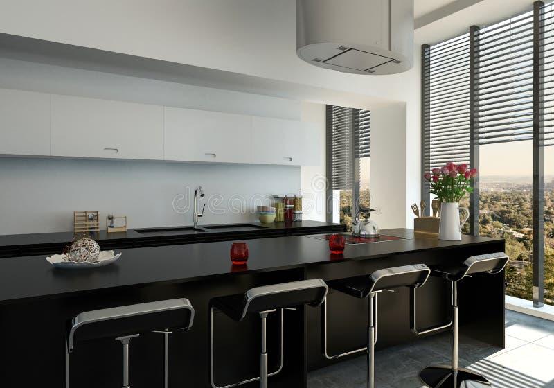Compteur noir moderne élégant de barre dans une cuisine illustration libre de droits