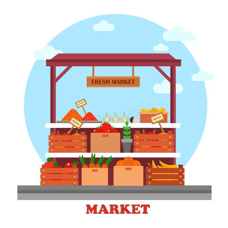 Compteur ou stalle de nourriture au marché avec des épiceries illustration libre de droits