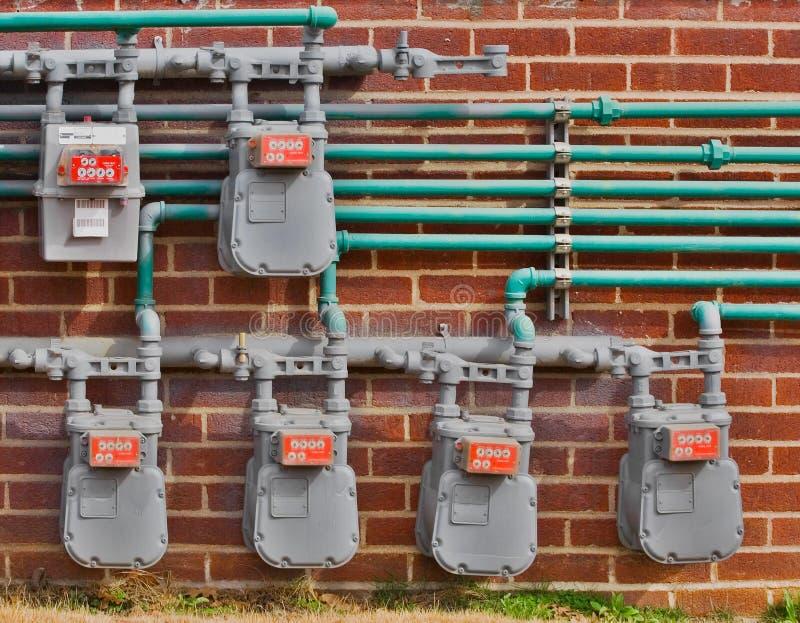 Compteurs à gaz images stock