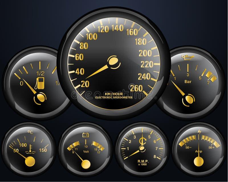Compteurs de véhicule illustration de vecteur