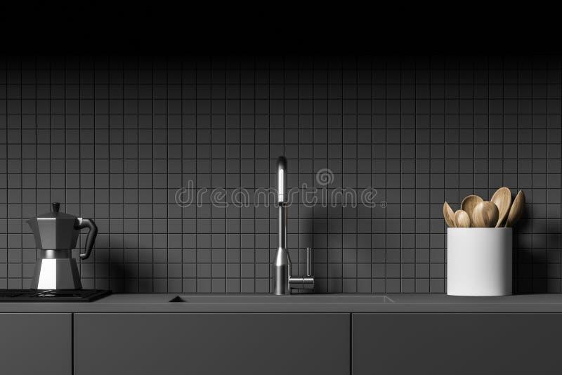 Comptoir de cuisine gris avec l'évier et le fourneau illustration stock