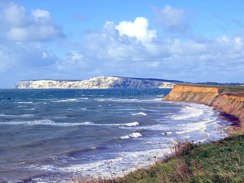 Compton bay, Isle of Wight. The coastline on a windy day in October at Compton Bay, Isle of Wight, England, UK stock images
