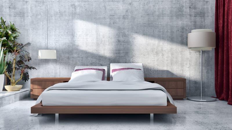 Compu lumineux moderne d'illustration de rendu des intérieurs 3D de pièce de lit illustration libre de droits