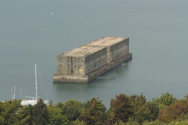 Compuerta flotante de Phoenix, parte del puerto de la mora, Segunda Guerra Mundial foto de archivo libre de regalías