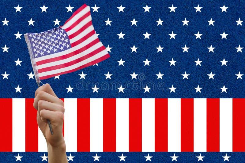 Compuesto de Digitaces de la mano que sostiene la bandera stock de ilustración
