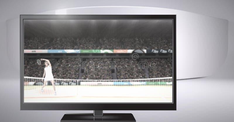 Compuesto de Digitaces del tenis en la televisión foto de archivo libre de regalías
