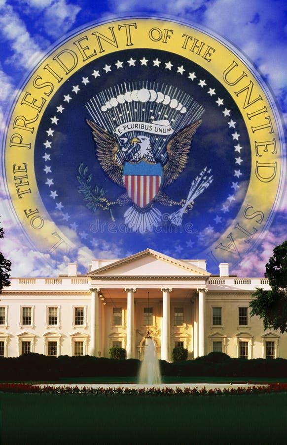 Compuesto de Digitaces: La Casa Blanca y el sello del presidente imagen de archivo