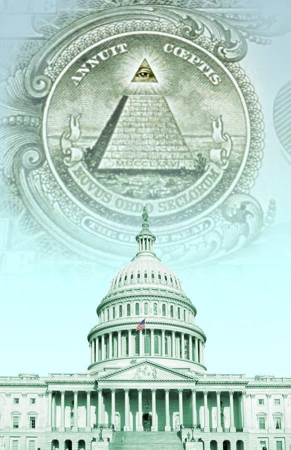 Compuesto de Digitaces: U S Capitolio con el dinero fotografía de archivo