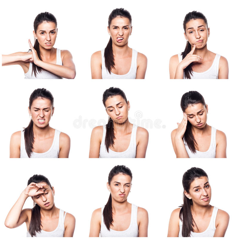Compuesto de emociones y de gestos negativos con la muchacha fotos de archivo libres de regalías
