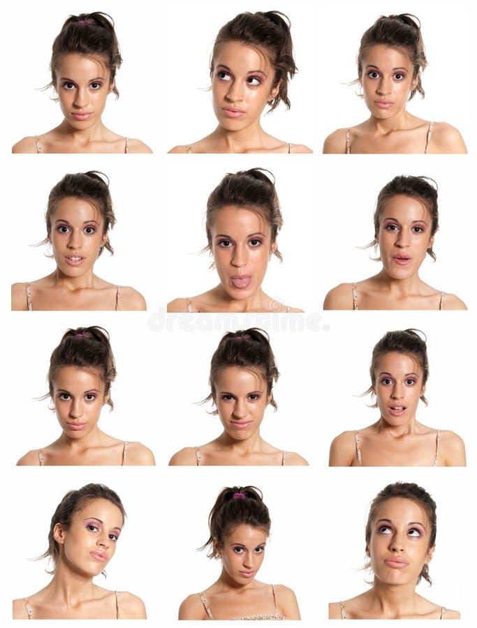 Compuesto de las expresiones de la cara de la mujer joven aislado fotos de archivo libres de regalías