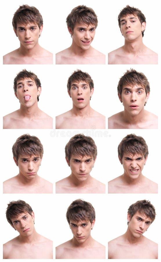Compuesto de las expresiones de la cara del hombre aislado en blanco fotografía de archivo