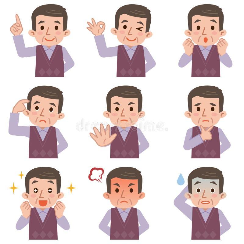 Compuesto maduro de las expresiones de la cara del hombre aislado en el backgrou blanco ilustración del vector