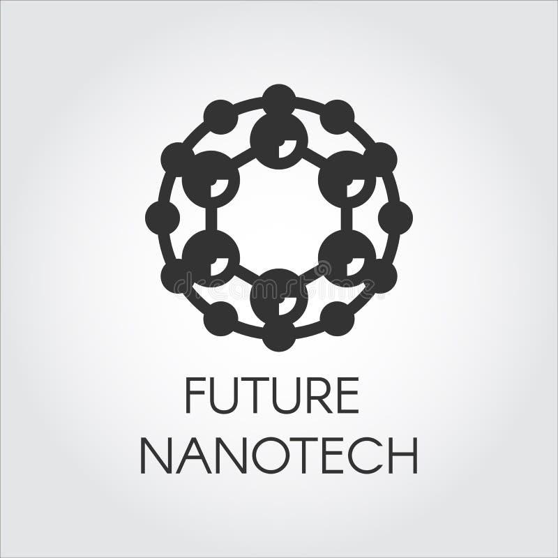 Compuesto químico de simbolización del nanotech del logotipo circular negro Icono abstracto en diseño plano de tema futuro de la  ilustración del vector